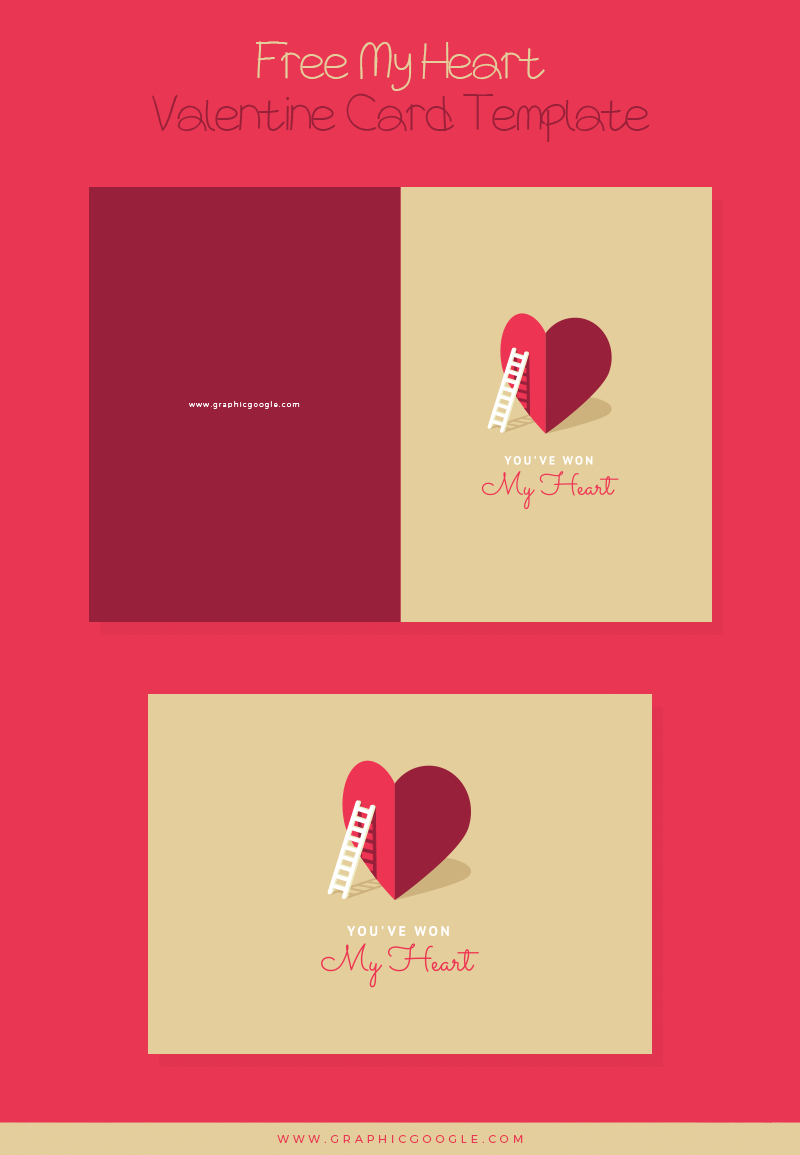 Free My Heart Valentine Card Template For Lovers
