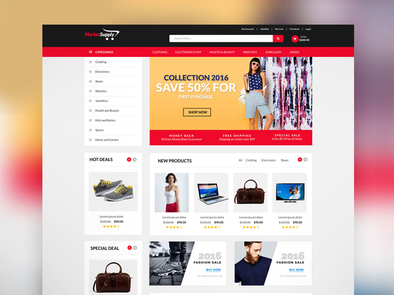 30 newest free website templates for 2017 for Free ecommerce website templates