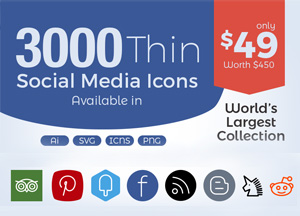 3000 Thin Social Media Web Design Icons In Ai, SVG, PNG, ICNS – Only in $49!