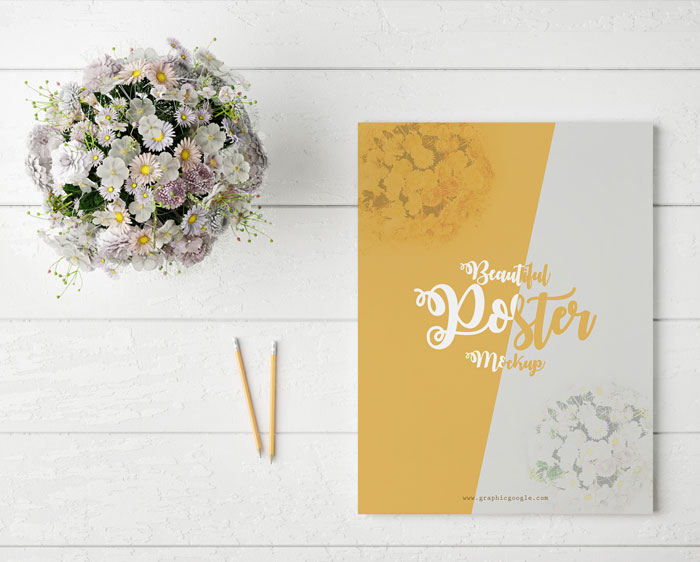 Free-Beautiful-Poster-Mock-Up-With-Glamour-Flowers