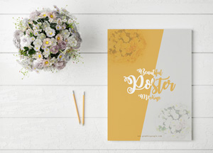 Free Beautiful Poster MockUp With Glamour Flowers