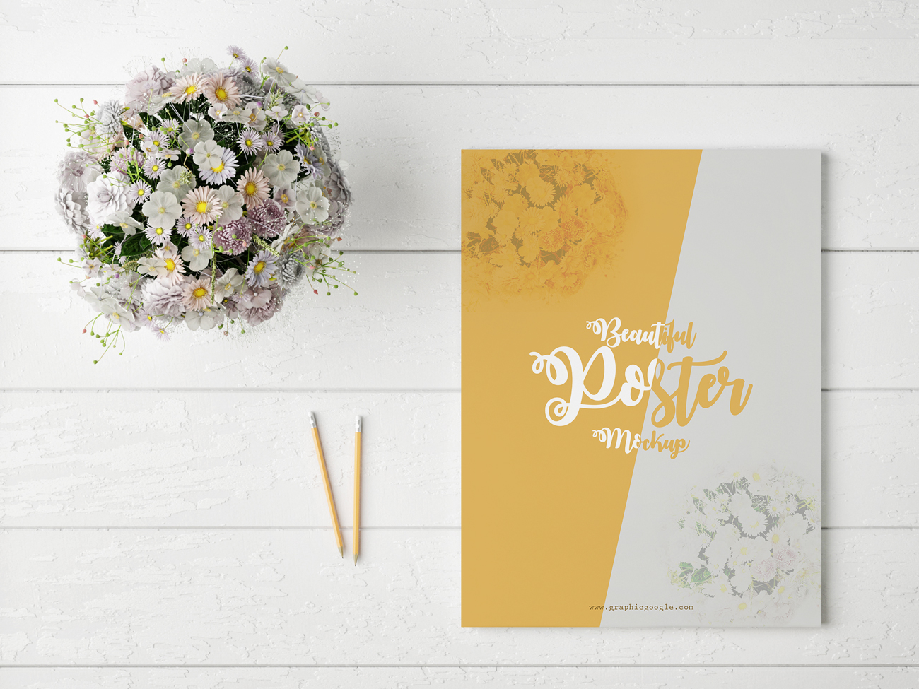 Free-Beautiful-Poster-MockUp-With-Glamour-Flowers
