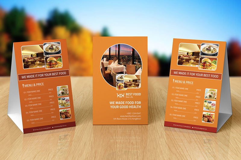 Free Food Menu Table Tent Template Psd File & 10 Best Free Table Tent Templates