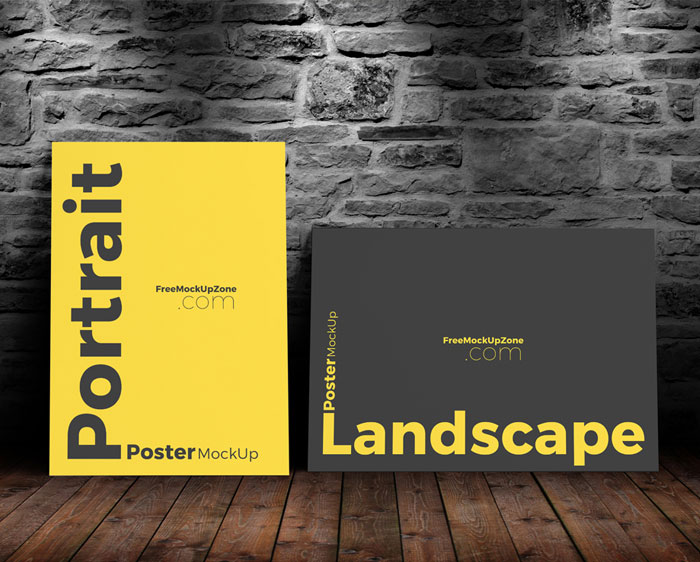 Free-Landscape-&-Portrait-Poster-Mock-Up