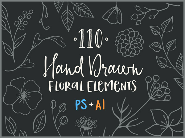 Free-110-Hand-Drawn-Floral-Elements-Ai-&-Psd