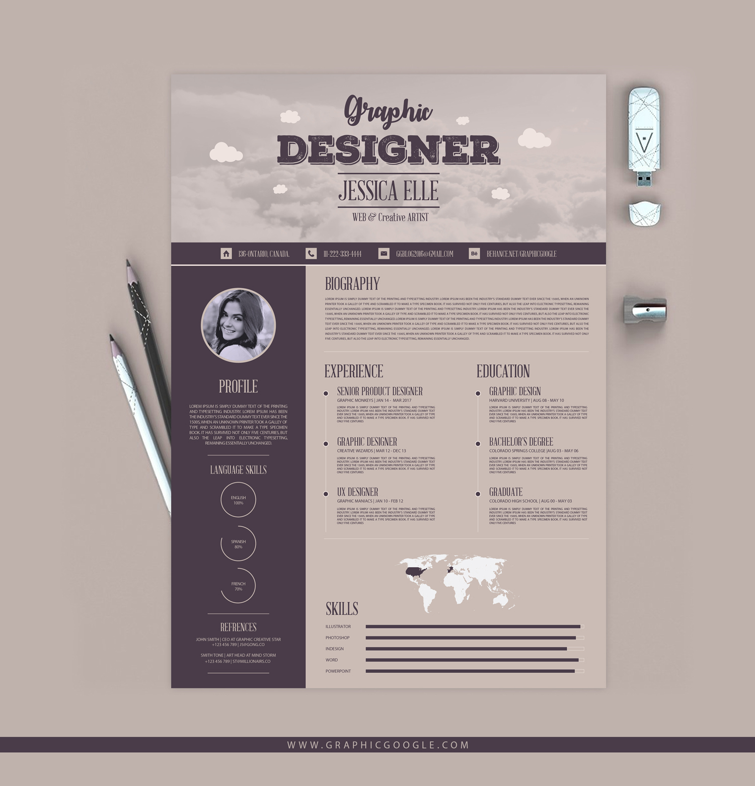 creative vintage resume design template for designers