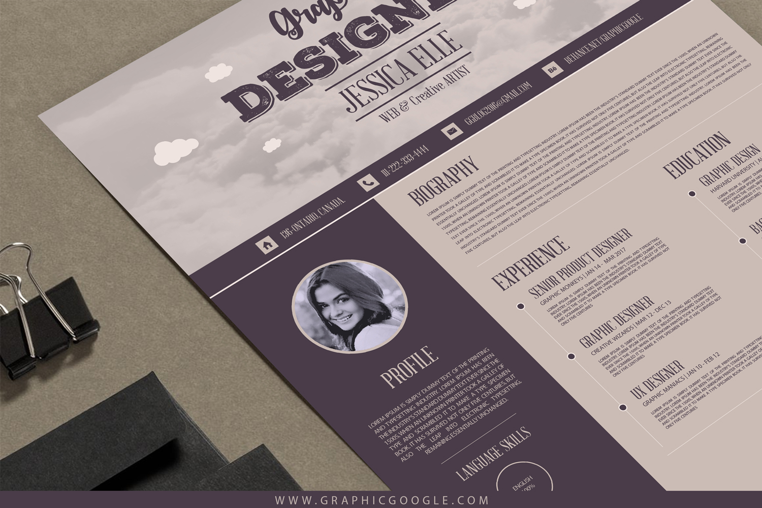 free creative vintage resume design template for