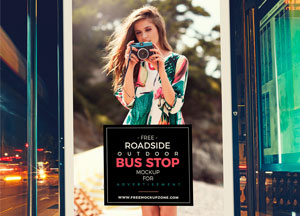 Free Psd Outdoor Bus Stop Billboard MockUp