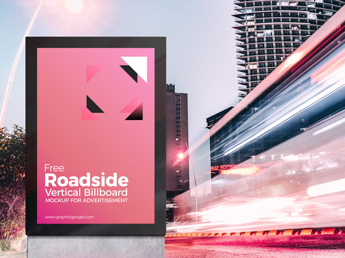 Free-Roadside-Vertical-Billboard-MockUp-For-Advertisement