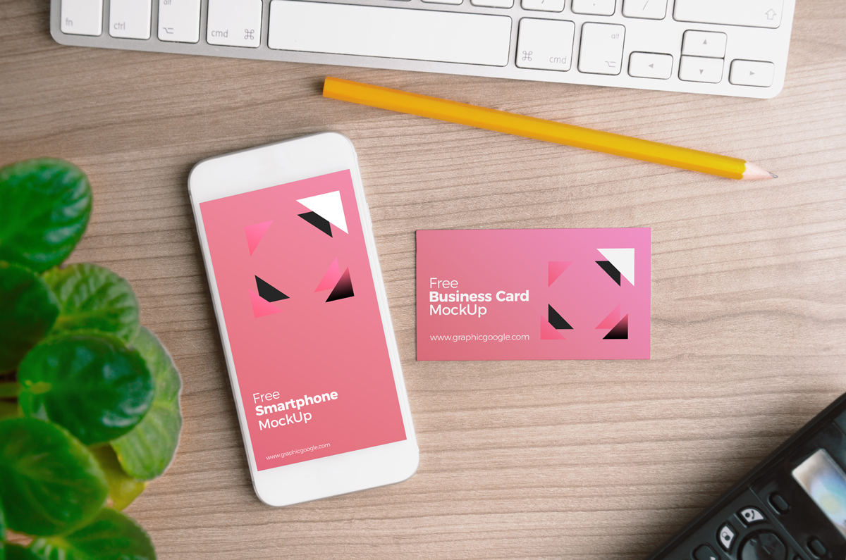 Free-Smartphone-with-Business-Card-MockUp-PSD