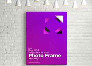 Free Beautiful White Bricks Wall Photo Frame Mockup