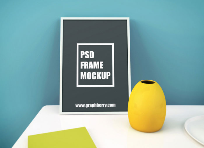 Free-Picture-Frame-on-Table-PSD-Mockup
