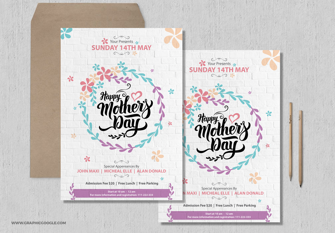 Free Pretty Mothers Day Flyer Template – Lunch Flyer Template