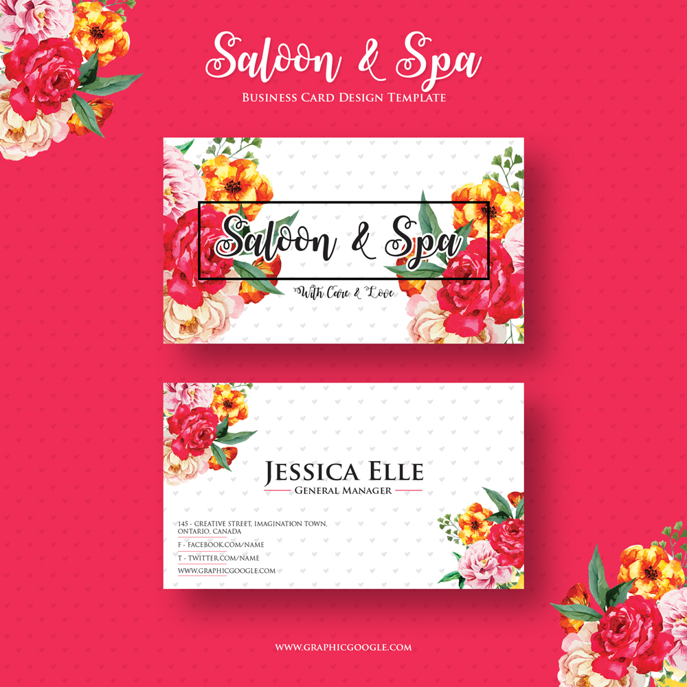 Free saloon spa business card design template reheart Gallery