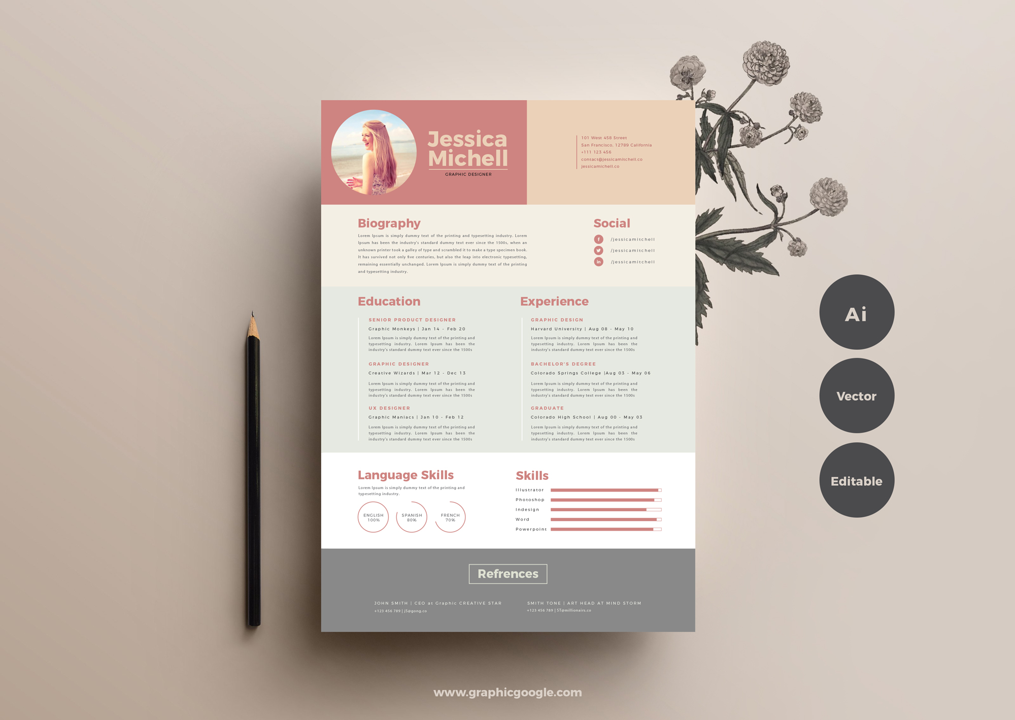 free simple  u0026 elegant resume templategraphic google  u2013 tasty graphic designs collection