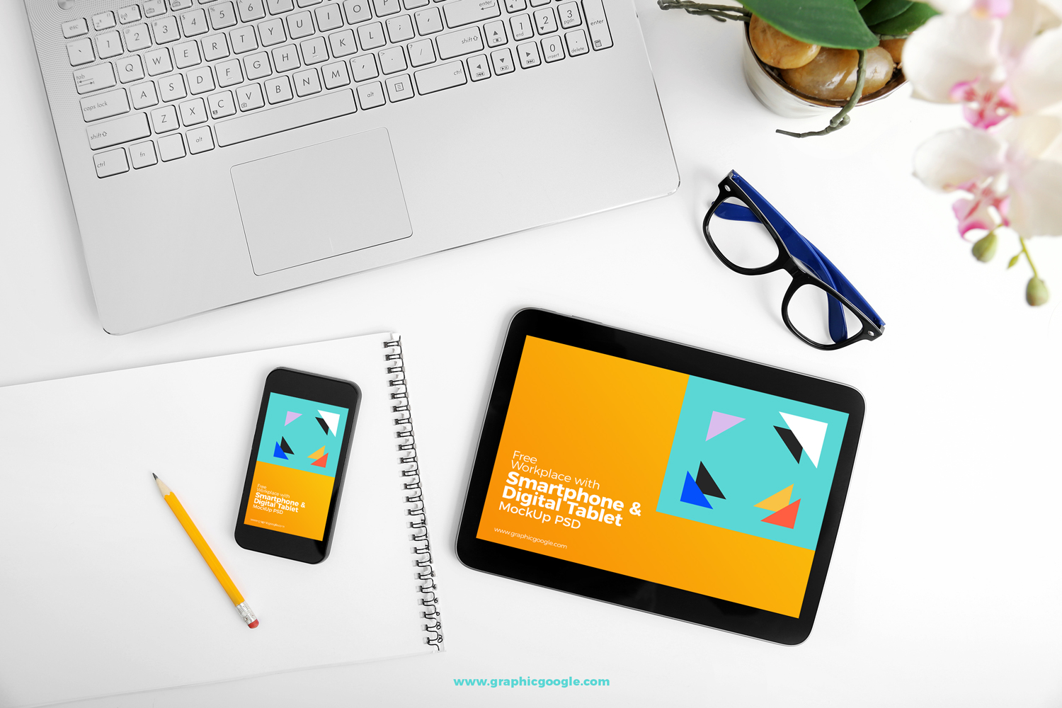 Free-Workplace-With-Smartphone-&-Digital-Tablet-MockUp-PSD