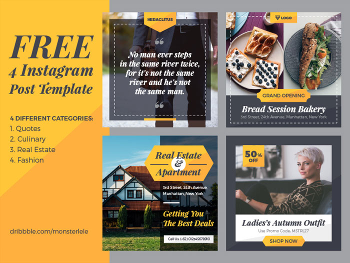 4-Free-Instagram-Post-Templates