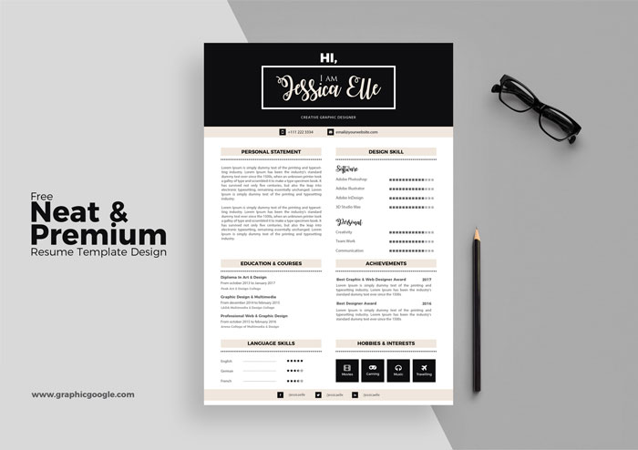 free neat premium resume template design - Resume Templates For Designers