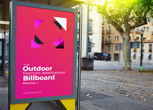 Free Outdoor Electronic Advertisement Billboard Mockup PSD