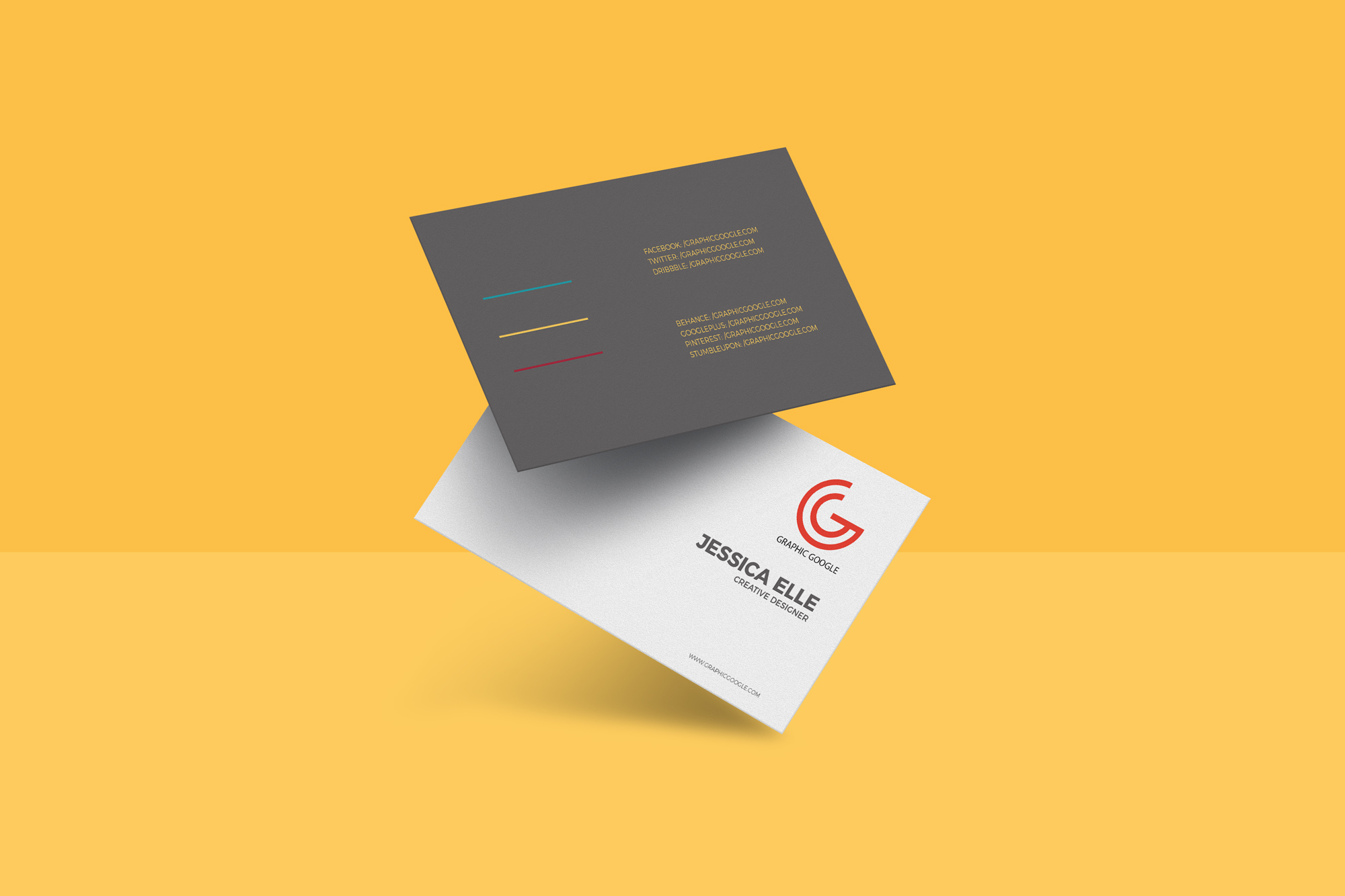 Free floating business card mockup for Business card images free