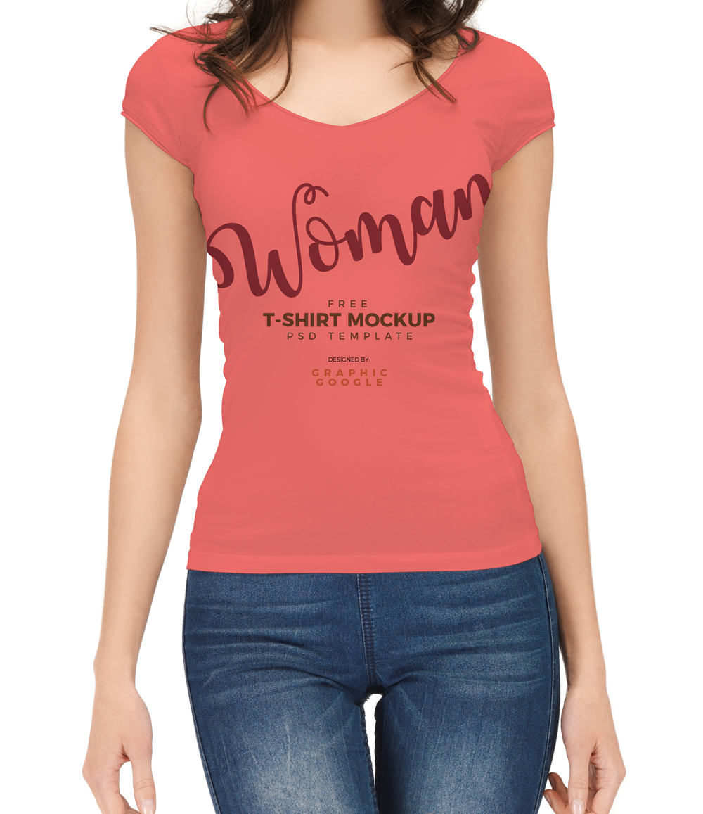 Free-woman-With-T-Shirt-Mockup-PSD-Template-Preview-2