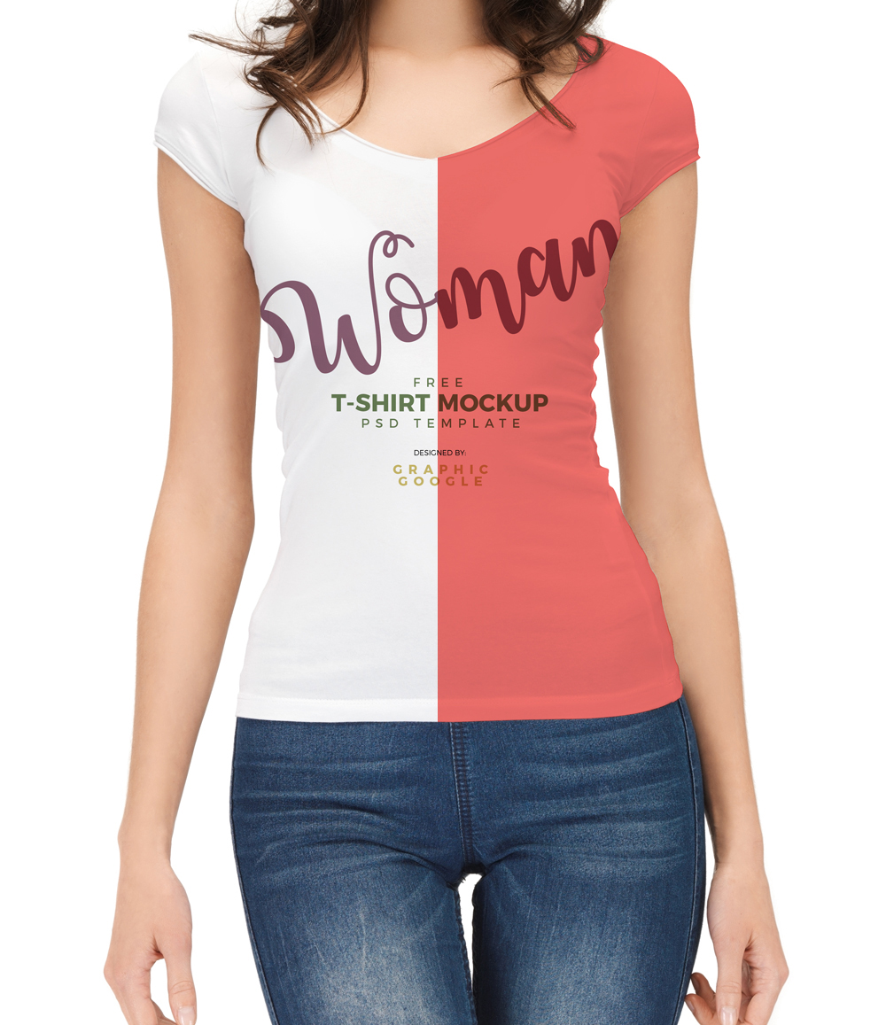 Free-woman-With-T-Shirt-Mockup-PSD-Template-Preview-4