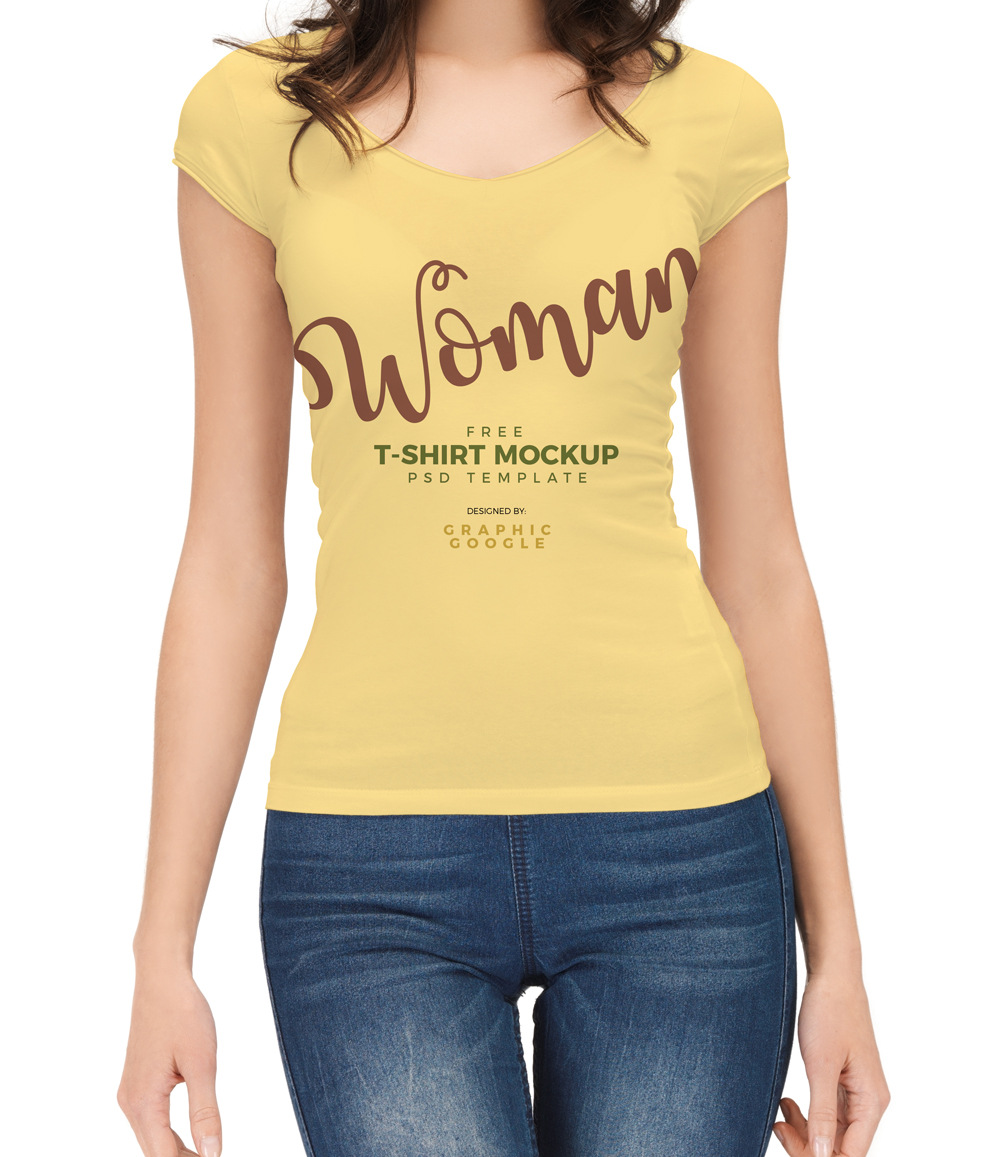 Free-woman-With-T-Shirt-Mockup-PSD-Template