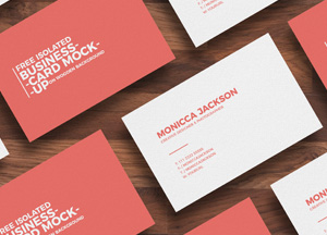 Free Isolated Business Card Mockup on Wooden Background