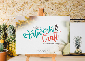 Free Artwork & Craft on Wooden Stand Mockup