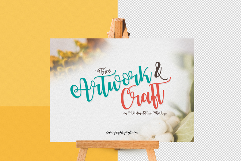Free-Artwork-&-Craft-on-Wooden-Stand-mockup-Preview-2
