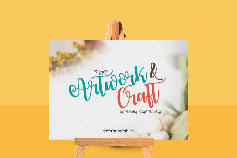 Free-Artwork-&-Craft-on-Wooden-Stand-mockup-Preview