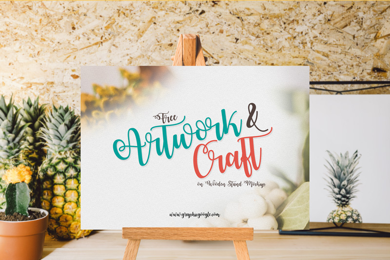 Free-Artwork-&-Craft-on-Wooden-Stand-mockup