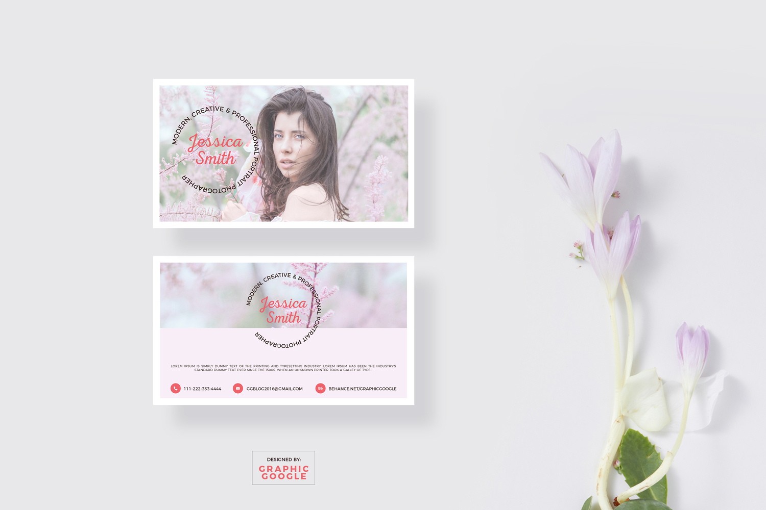 Free Blooming Business Card Mockup & Photographer Design Template