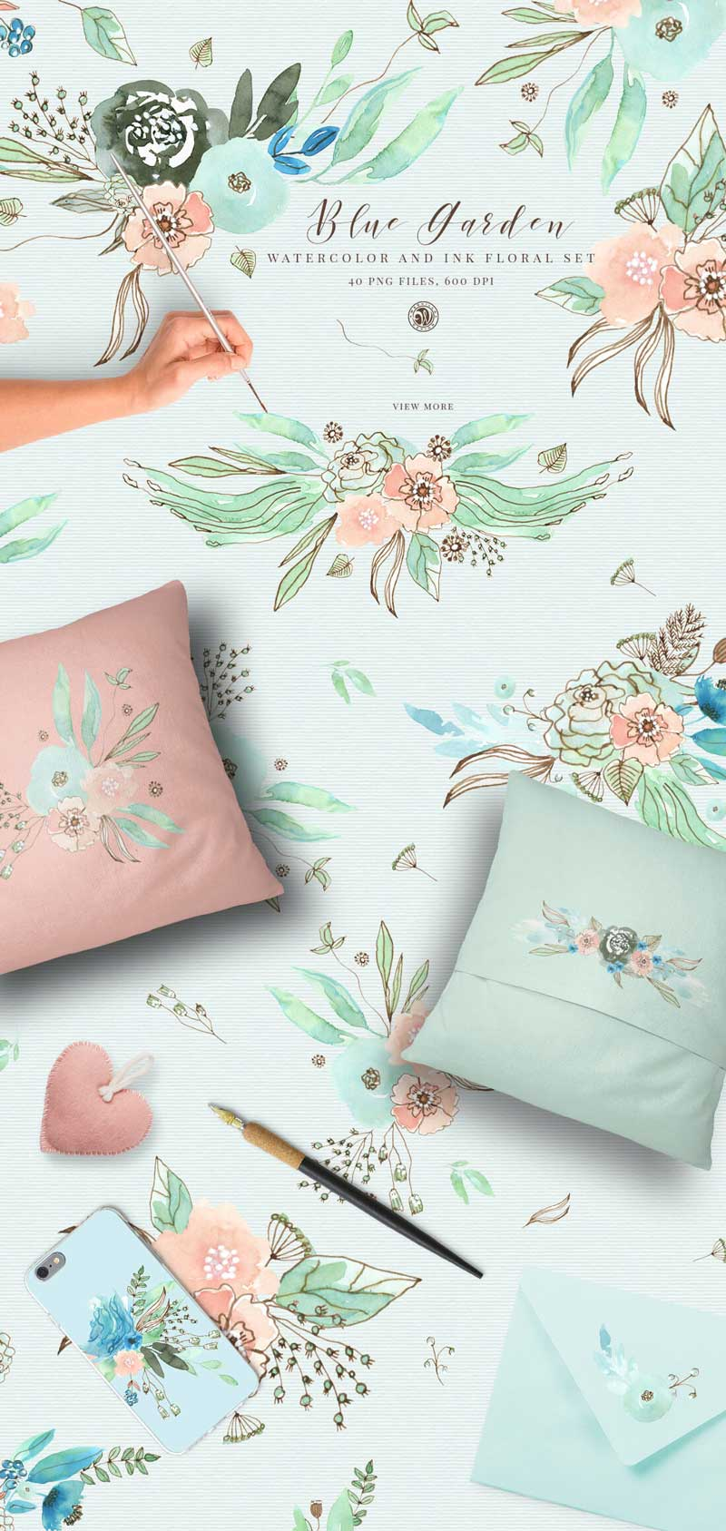 Blue-Garden-Watercolor-and-Ink-Floral-Set-40-PNG-Files