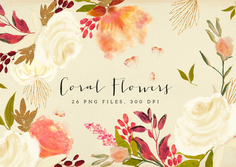 Coral-Flowers-26-PNG-Files