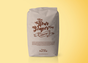 Free Flour Paper Bag Packaging Mockup