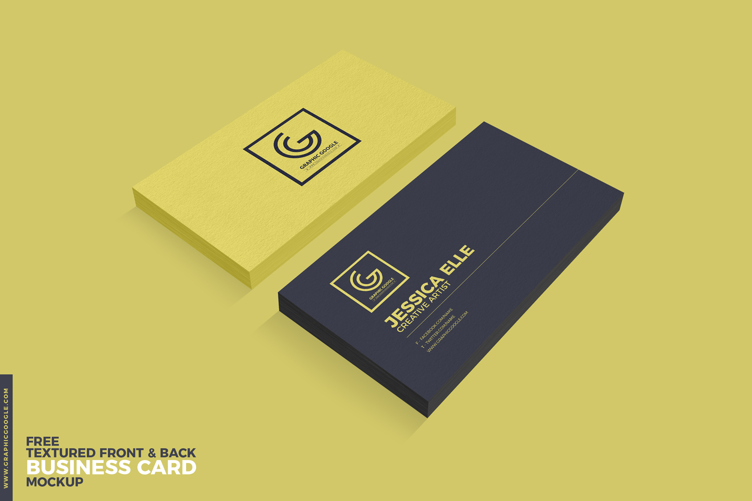 Free Textured Front & Back Business Card Mockup