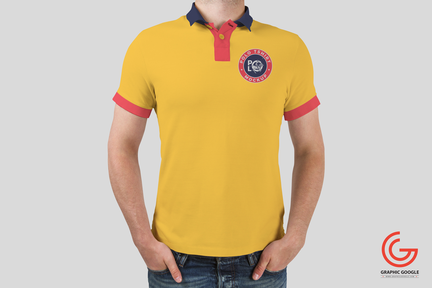 Free man wearing polo t shirt mockup for Free polo shirt mockup