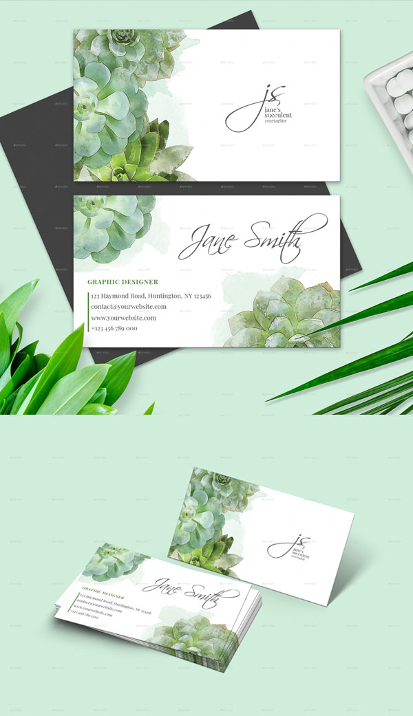 Succulent-Watercolor-Business-Card