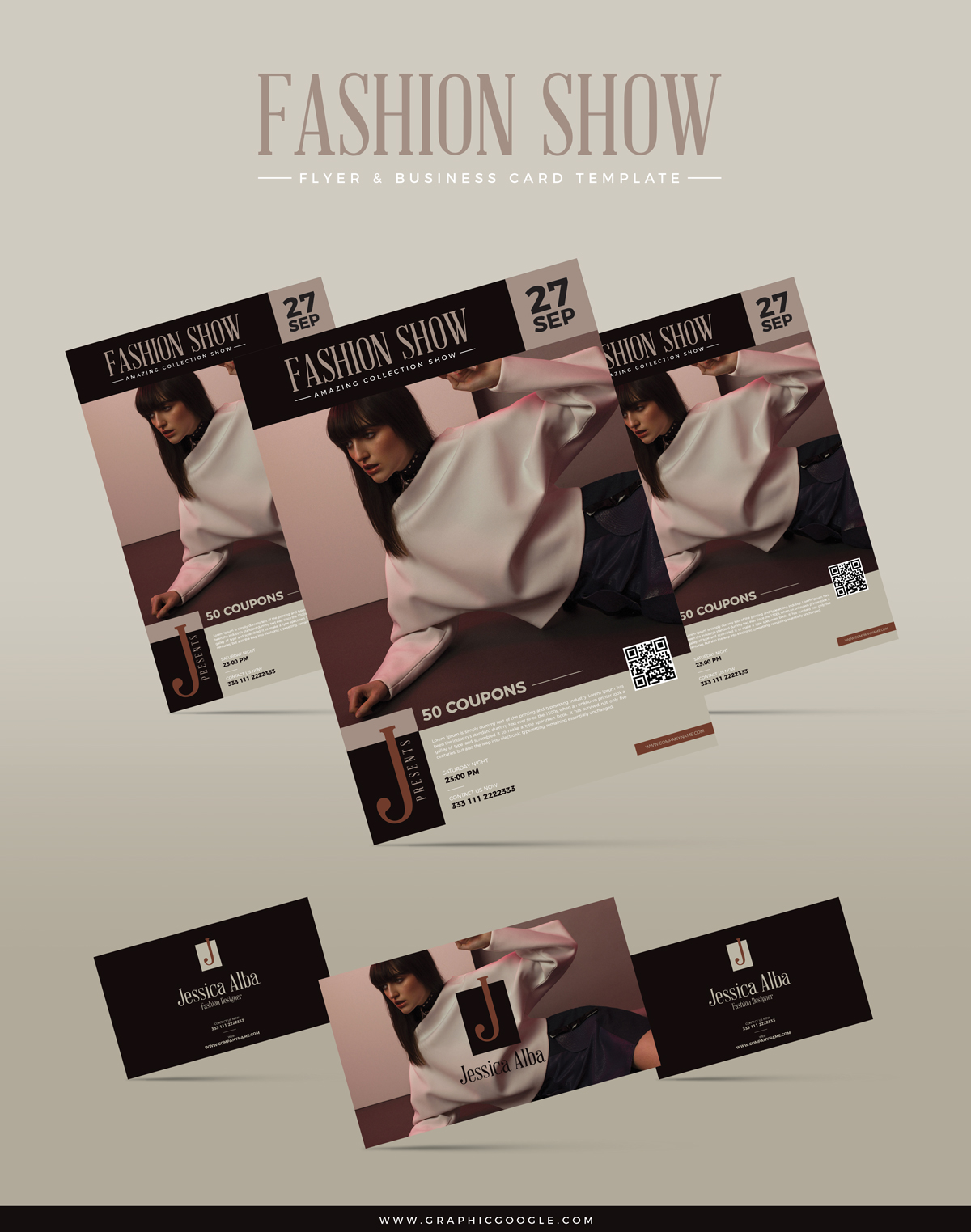 free fashion show flyer business card template. Black Bedroom Furniture Sets. Home Design Ideas