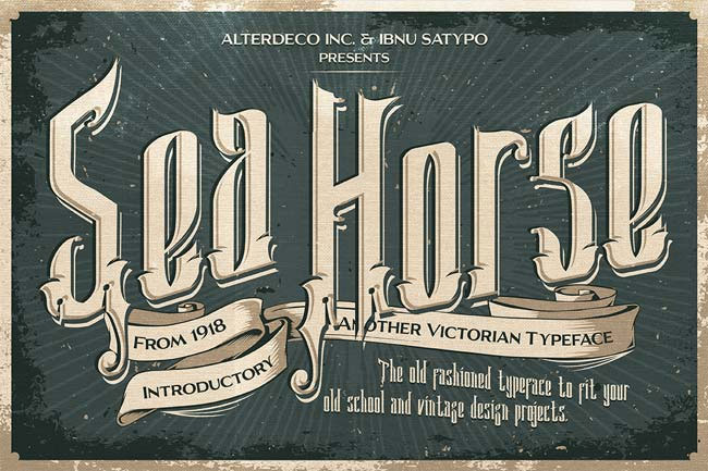Sea-Horse-old-Victorian-typography-vintage-font-2018