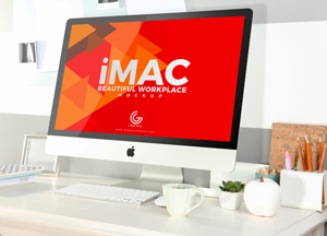 Free Beautiful Workplace iMac Mockup 2018