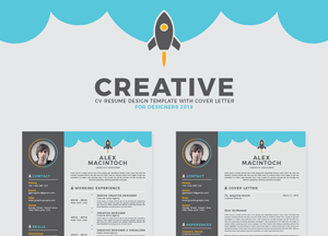 Free Creative CV-Resume Design Template With Cover Letter For Designers 2018