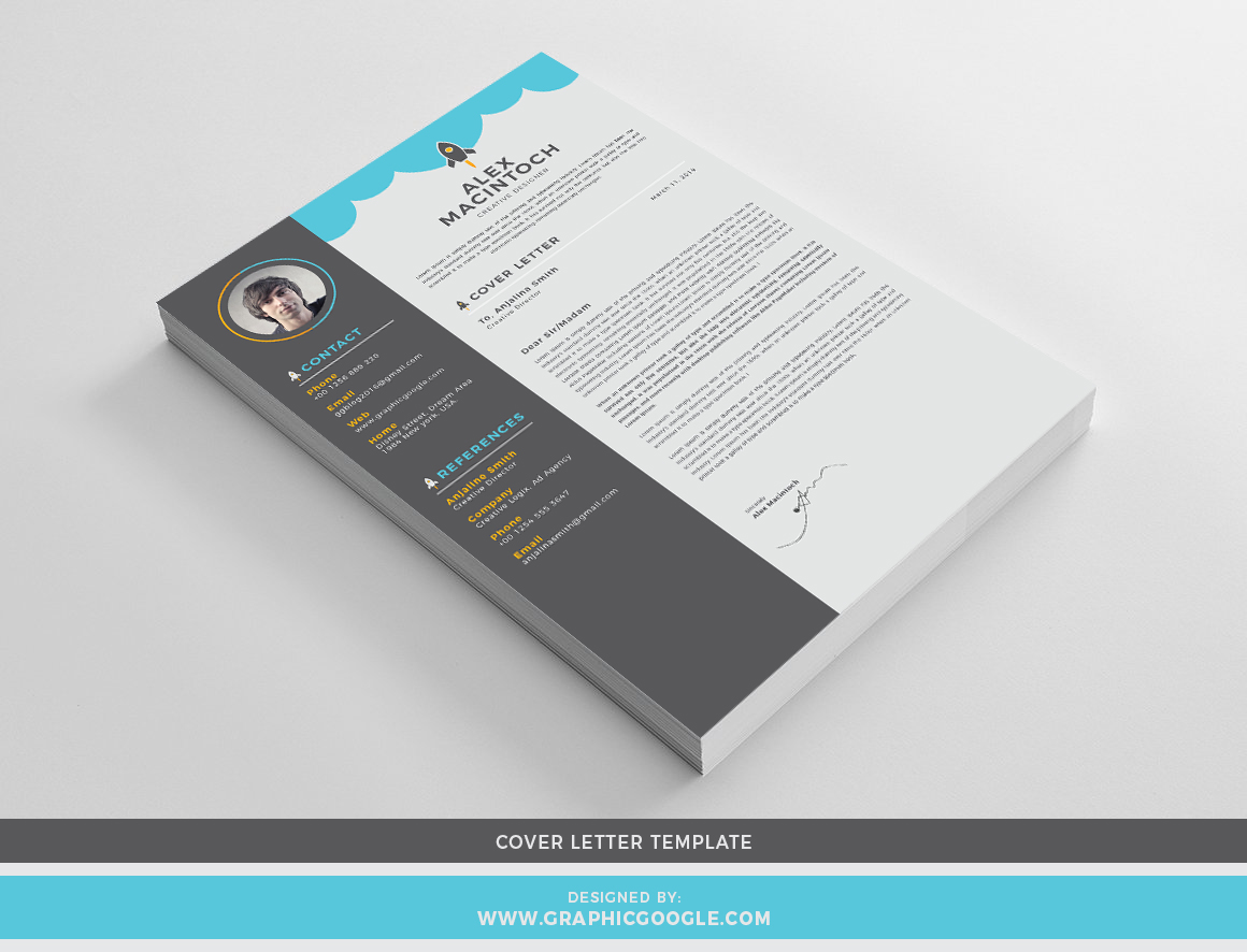 Free Creative CvResume Design Template With Cover Letter For