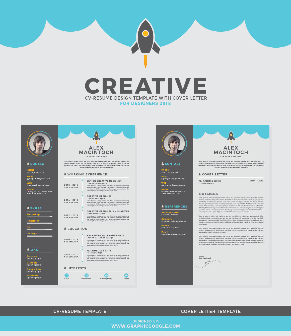 Free Creative CV Resume Design Template With Cover