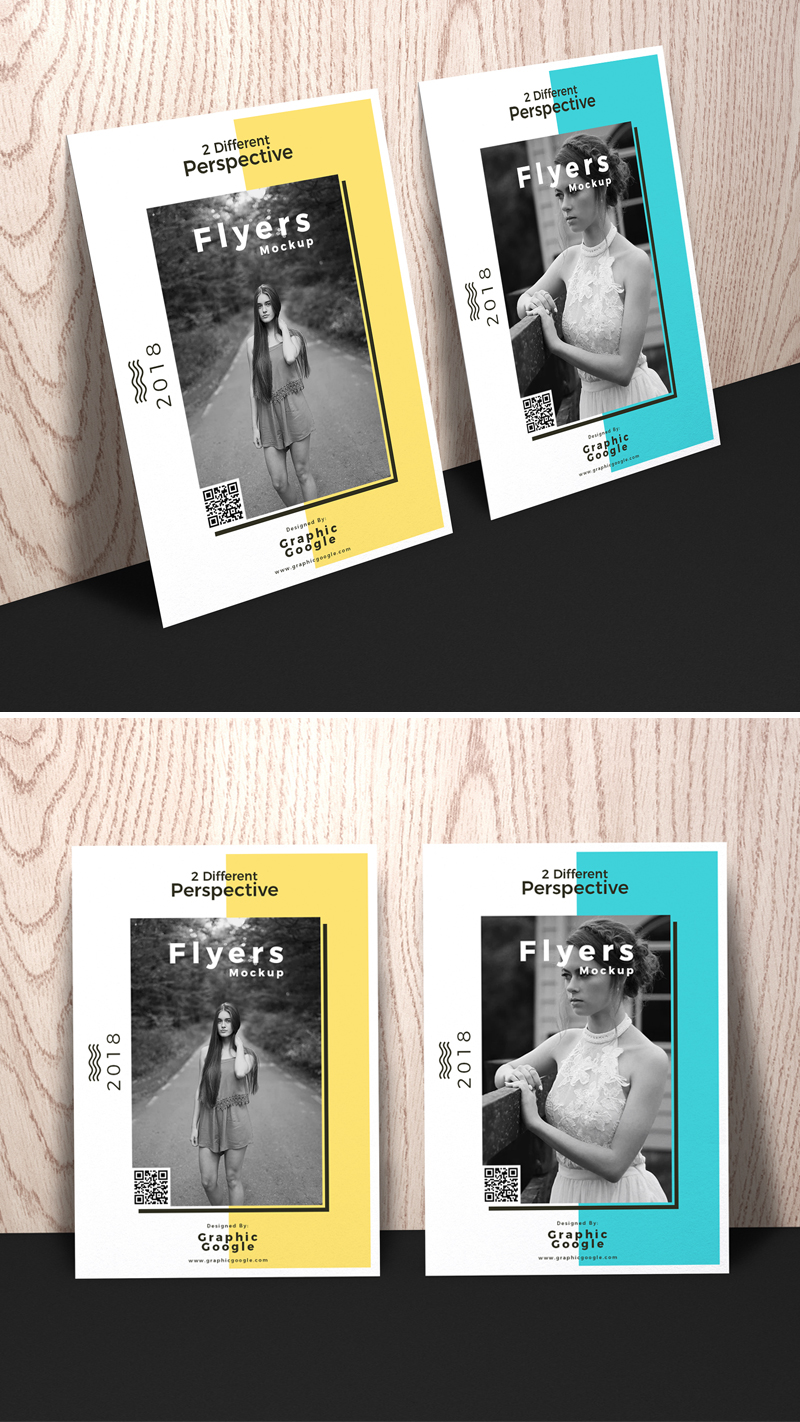 Free-Flyers-Mockup-With-2-Different-Perspective