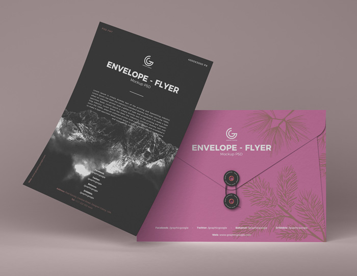 Free-Front-View-Envelope-Flyer-Mockup