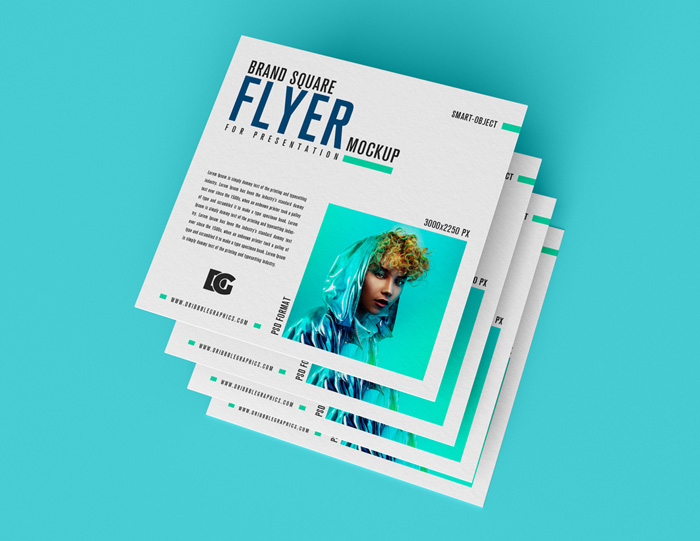 Free-Square-Top-View-Flyer-Mockup
