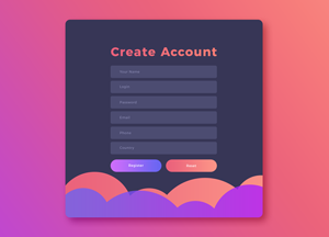 Free UI GUI, UX Create Account Screen Template PSD