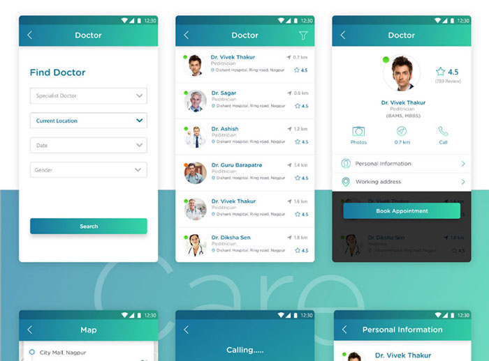 Free-Doctriod-Health-Care-UI-Kit-Design